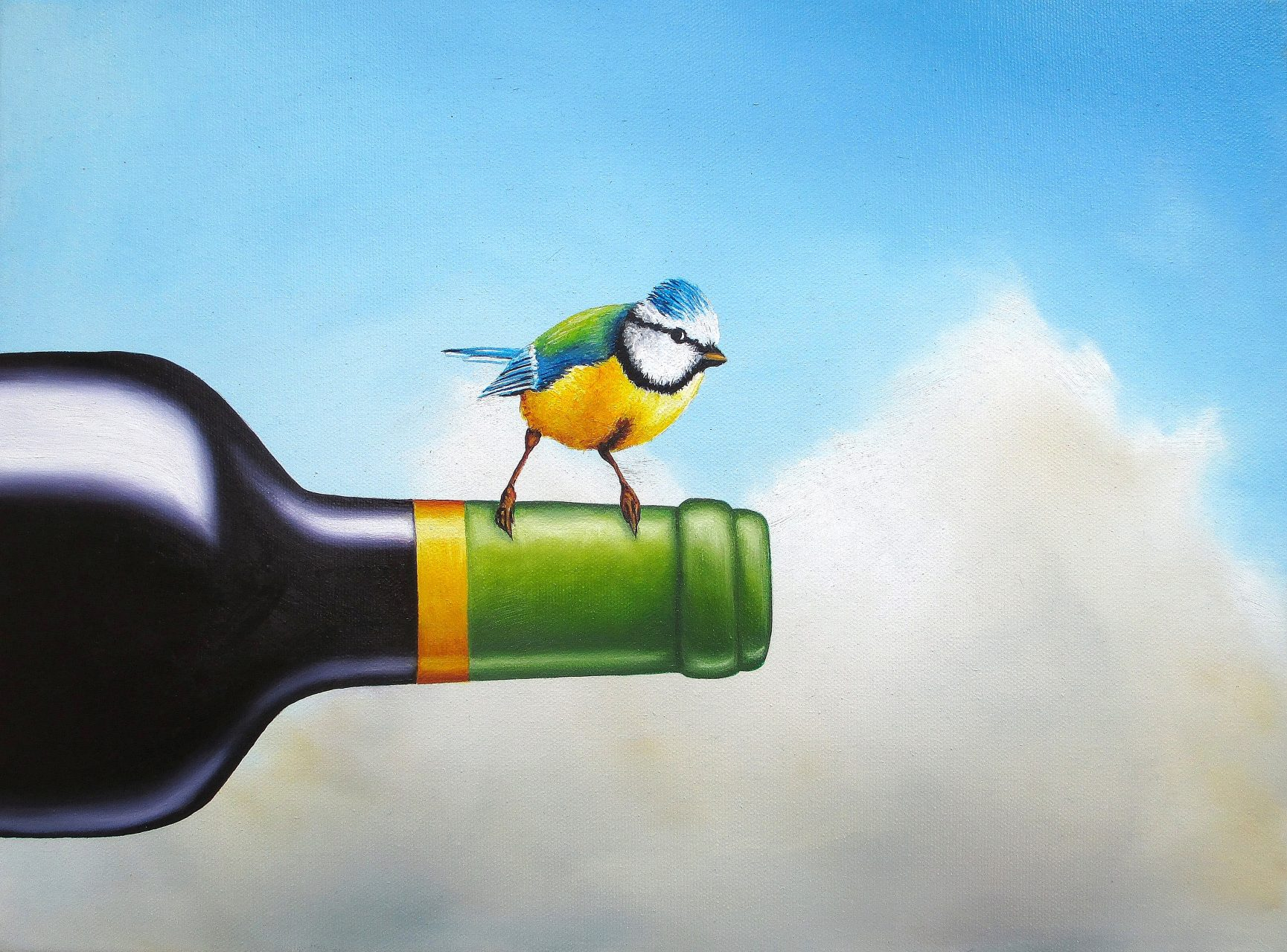 Noch Ein Genießer 30 x 40 cm, Öl, Acryl auf Leinwand, Künstler Kai Piepgras