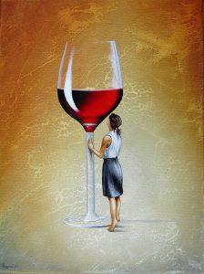 Ihr Roter Abend 30 x 40 cm Öl, Acryl auf Leinwand