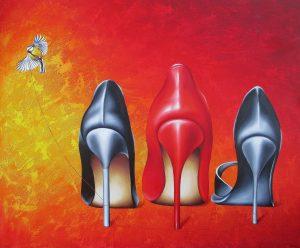Roter Faden 100 x 120 cm Öl, Acryl auf Leinwand