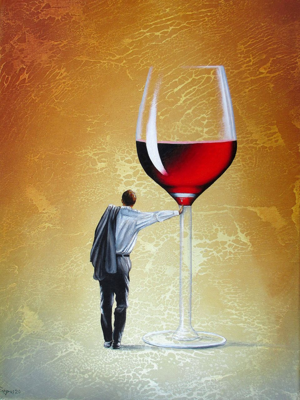 Sein Roter Abend 30 x 40 cm Öl, Acryl auf Leinwand