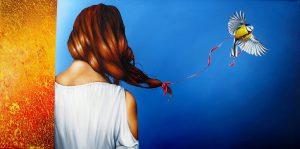 Verspielter Moment 50 x 100 cm Öl, Acryl auf Leinwand