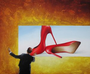 Wer Das Rot Hört 50 x 60 cm Öl, Acryl auf Leinwand