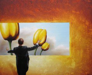 Wer Das Wachsen Sieht 50 x 60 cm Öl, Acryl auf Leinwand