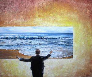 Wer Die Wellen Fühlt 50 x 60 cm Öl, Acryl auf Leinbwand
