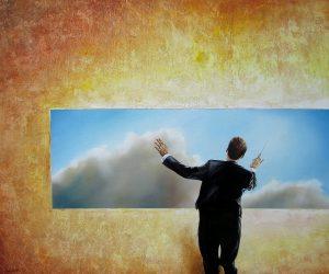 Wer Die Wolken Schmeckt 50 x 60 cm Öl, Acryl auf Leinwand