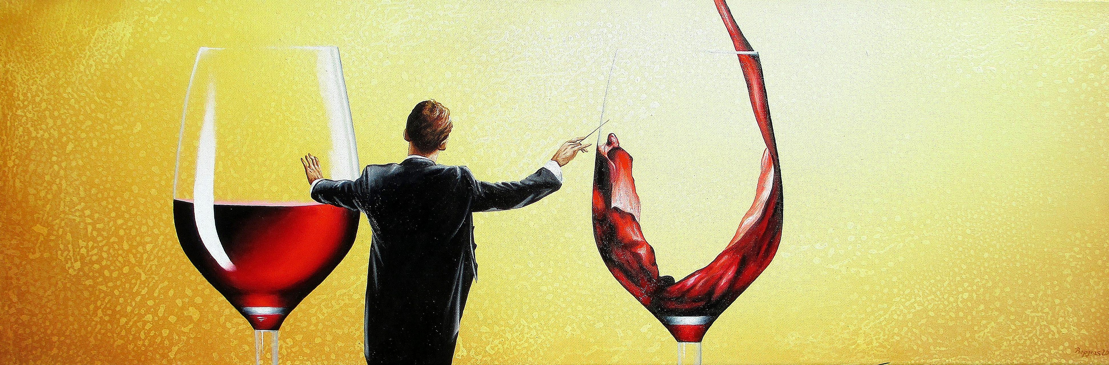 Wer Das Rot Zu Schätzen Weiss 30 x 90 cm Öl, Acryl auf Leinwand
