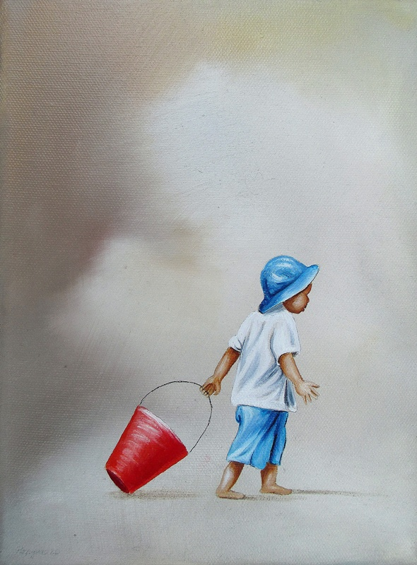 Bei Jedem Wetter 18 x 24 cm Öl, Acryl auf Leinwand