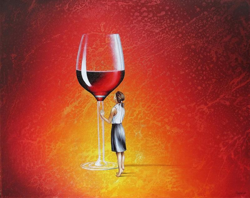 Ihr Roter Abend 40 x 50 cm Öl, Acryl auf Leinwand