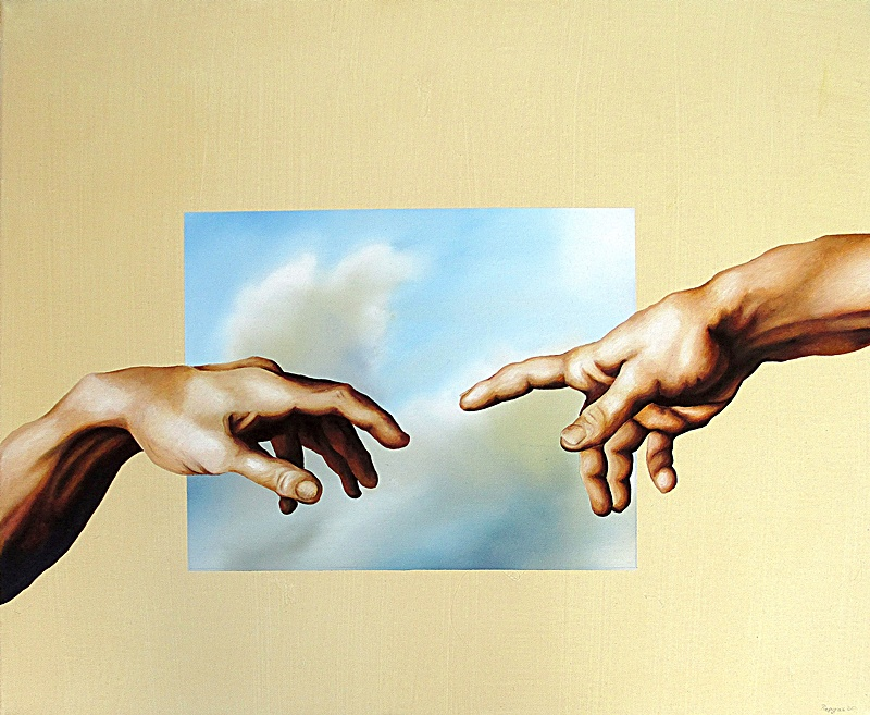 Im Anfang War Das Bild 50 x 60 cm Öl, Acryl auf Leinwand
