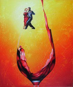 Roter Flow 50 x 60 cm Öl, Acryl auf Leinwand