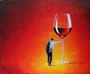 Sein Roter Abend 40 x 50 cm Öl, Acryl auf Leinwand