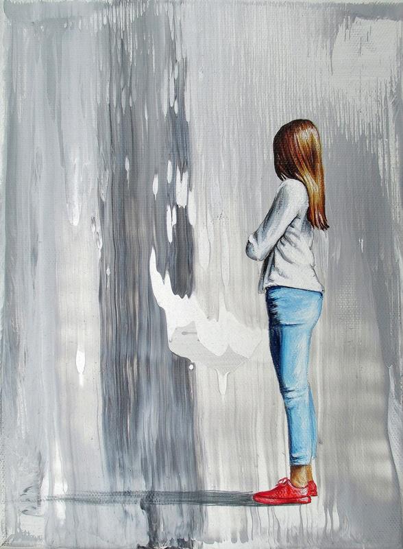 Verblüffende Begegnung (2) 18 x 24 cm Öl, Acryl auf Leinwand