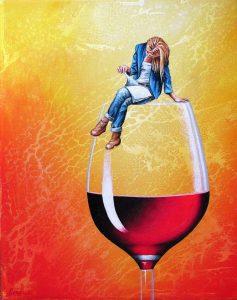 Rote Pause 24 x 30 cm Öl, Acryl auf Leinwand