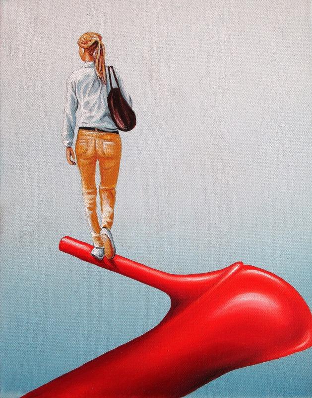 Campari Soda 24 x 30 cm Öl, Acryl auf Leinwand