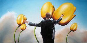 Frühlings Symphonie 40 x 80 cm Öl, Acryl auf Leinwand