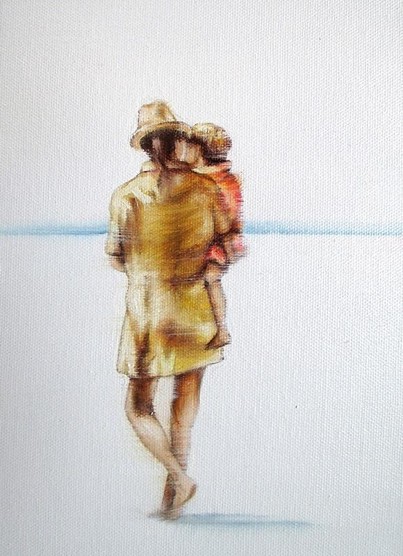 Strand Zeit 18 x 24 cm Öl auf Leinwand